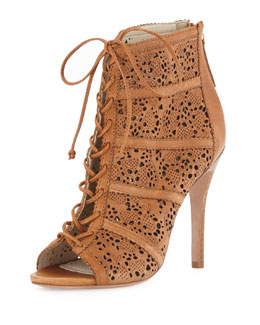 Alice + Olivia Gale Leather Lace-Up Bootie, Caramel