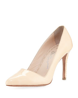 Alice + Olivia Dina Patent Leather Sandal, Cipria