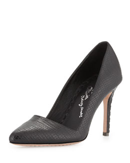 Alice + Olivia Dina Lizard-Embossed Pump, Black
