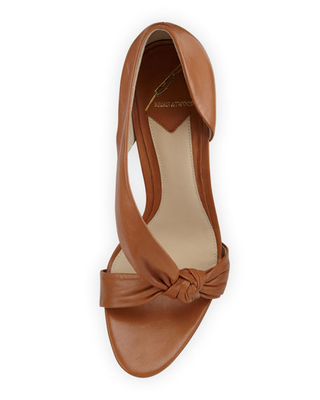 Chryssa Knotted Leather Sandal, Brown
