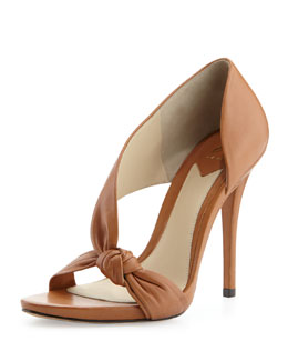 B Brian Atwood Chryssa Knotted Leather Sandal, Brown