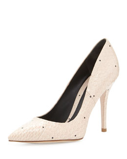 B Brian Atwood Joelle Snakeskin Point-Toe Pump, Natural