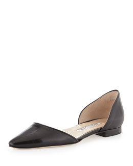 Manolo Blahnik Soussaba Kidskin Leather Pointy d'Orsay Flat, Black