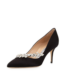 Manolo Blahnik Nadira Satin & Crystal Pump, Black
