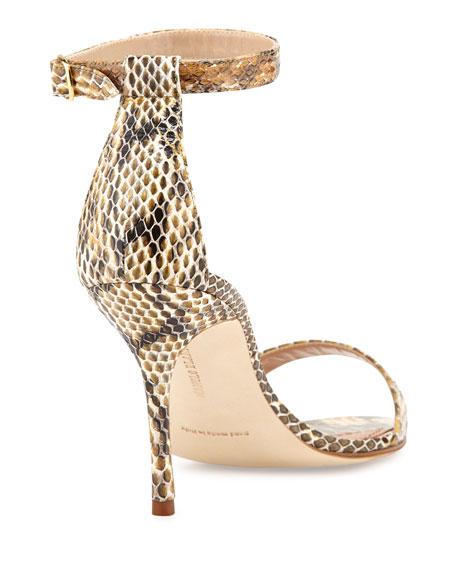 e9ea1942997 Manolo Blahnik Chaos Snakeskin Ankle-Strap Sandal