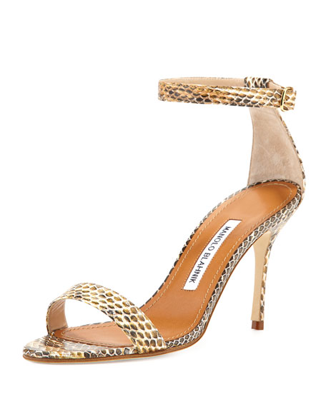 3ff9facc1c6d Manolo Blahnik Chaos Snakeskin Ankle-Strap Sandal