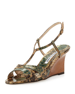 Manolo Blahnik Atracon Camo Snake Wedge Sandal, Army Green