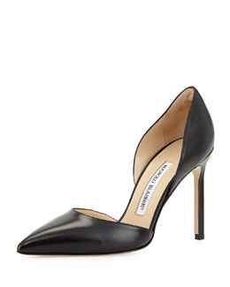 Manolo Blahnik Tayler Tonal Leather d'Orsay Pump, Black