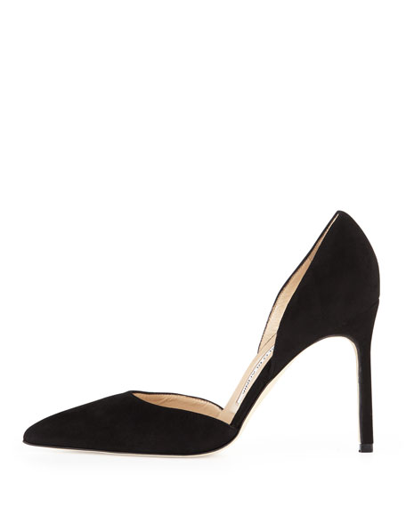 Tayler Suede Pointed d'Orsay Pump, Black