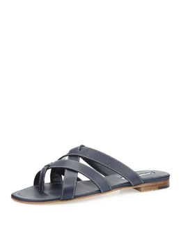 Manolo Blahnik Lascia Woven Leather Thong Sandal, Blue