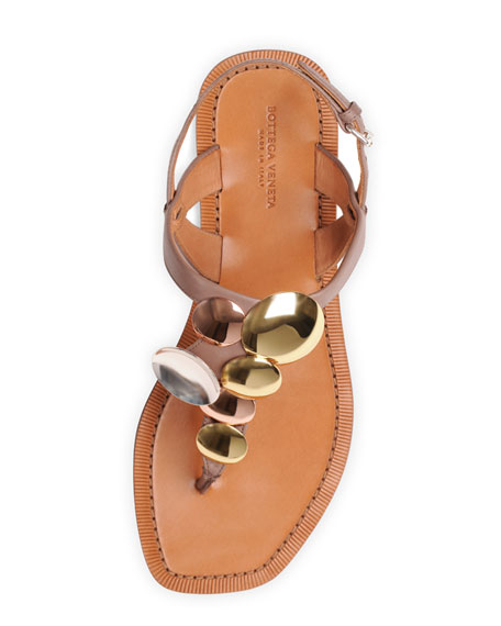 Mirrored Circles Thong Sandal, Mud