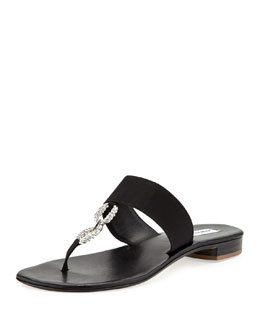 Manolo Blahnik Ilana Jeweled Thong Sandal, Black