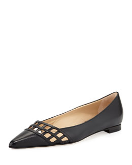 Manolo Blahnik Jabiflat Lattice Point-Toe Flat, Black