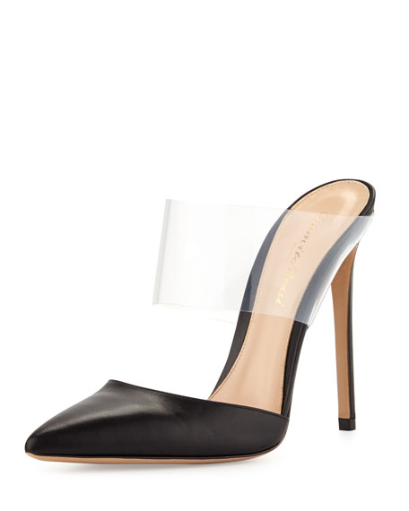 PVC/Leather High-Heel Point-Toe Slide