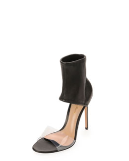 Gianvito Rossi Napa Stretch Ankle-Band Sandal, Nero