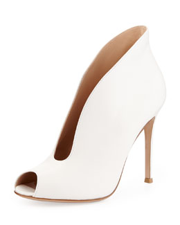 Gianvito Rossi Leather Split Peep-Toe Bootie, Cream