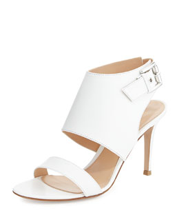 Gianvito Rossi Leather Halter Sling Sandal, Bianco White