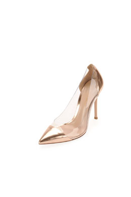 Gianvito Rossi Metallic Cap-Toe PVC Pump, Cookie
