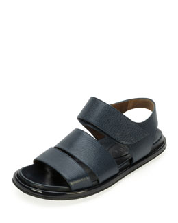 Marni Saffiano Double-Band Sandal, Night Blue