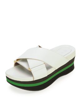 Marni Crisscross Platform Wedge Sandal, Lilly White