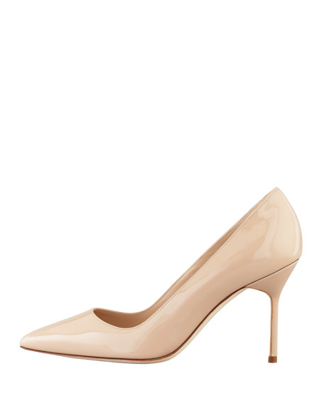 manolo blahnik bb patent 90mm pump nude made to order rh bergdorfgoodman com