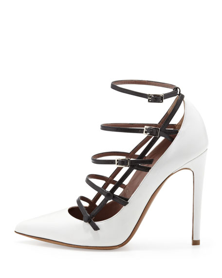 Josephina Buckled Cage Pump, White/Black