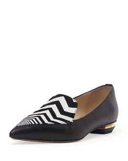 Nicholas Kirkwood Zigzag Point-Toe Loafer, Black/White