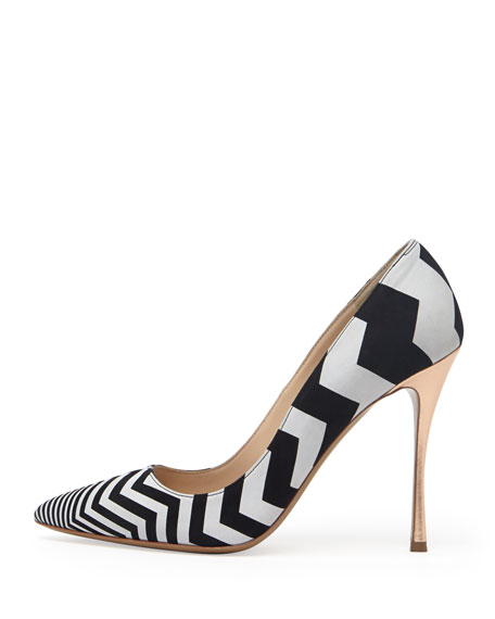 Zigzag Suede Point-Toe Pump, Black/White