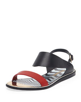 Nicholas Kirkwood Two-Tone Flat Leather Sandal, Black/Red
