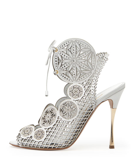 Laser-Cut Leather Lace-Up Sandal, White
