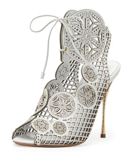 Nicholas Kirkwood Laser-Cut Leather Lace-Up Sandal, White