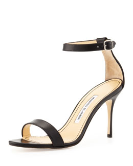 Manolo Blahnik Chaos Leather Ankle-Wrap Sandal, Black