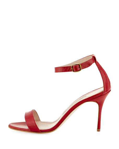 Chaos Patent Ankle-Strap Sandal, Red