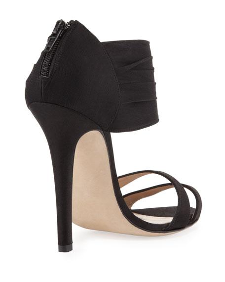 Satin Double-Band Sandal, Black