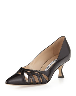 Manolo Blahnik Gayatri Leather Cage Low-Heel Pump, Black