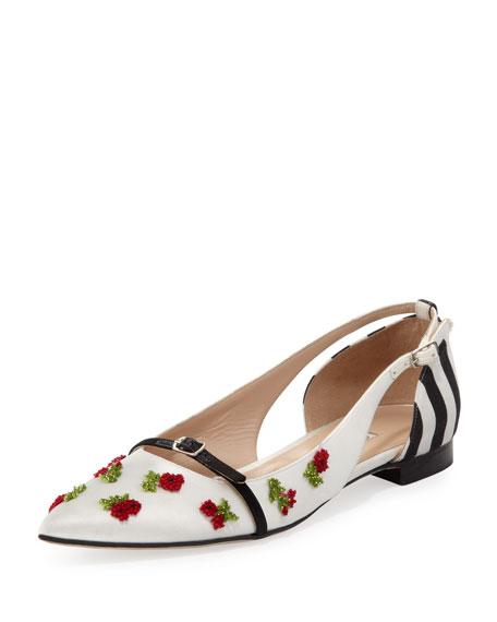 d4d0c3443 Oscar de la Renta Flat Pointed-Toe Cherry Ballerina