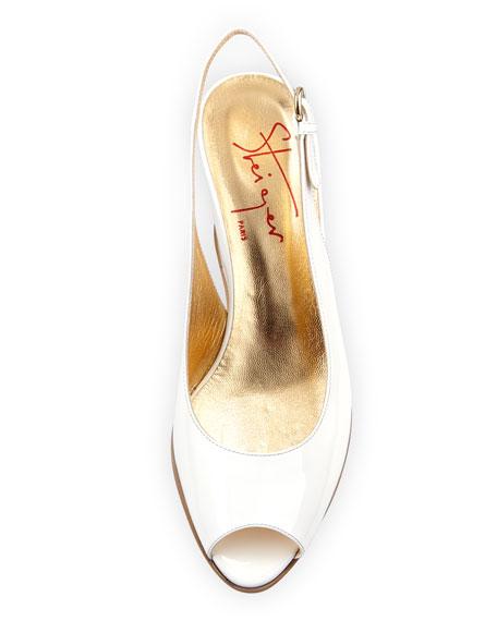 Akeo Patent Slingback Wedge Sandal, Bianco