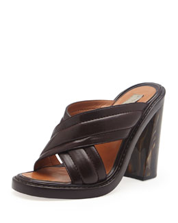 Stella McCartney Faux-Leather Veneer-Heel Crisscross Slide, Oak