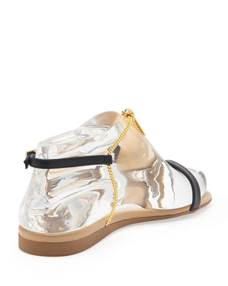 Zipper Chain T-Strap Sandal, Black Electrum
