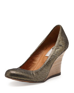 Lanvin Metallic Ballerina Wedge Pump, Gold