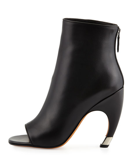 Open-Toe Curve-Heel Bootie, Black/Silver
