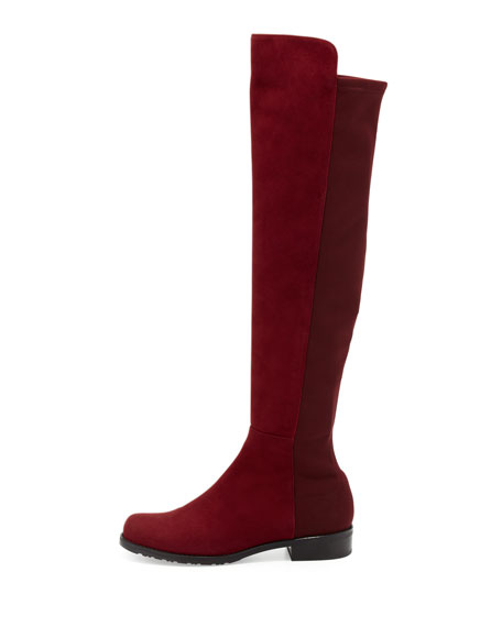 50/50 Narrow Suede Stretch Over-the-Knee Boot, Scarlet