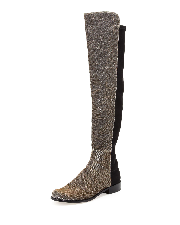 Stuart Weitzman 50/50 Wide Metallic Stretch Over-the-Knee Boot, Pyrite Nocturn