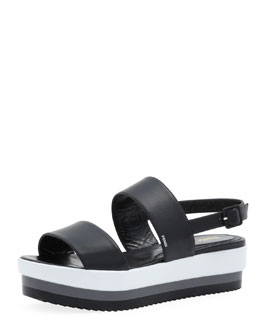 Fendi Napa Leather Platform Sandal, Black