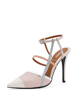 Fendi Point-Toe Colorblock Sandal, Pink/White