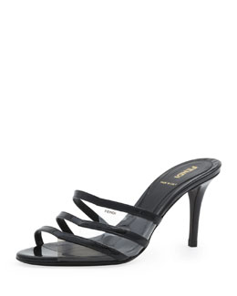 Fendi Patent Leather & PVC Slide Sandal, Black/Smoke/Nude