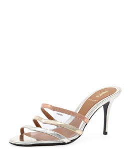 Fendi Metallic Leather & PVC Slide, Champagne/Powder