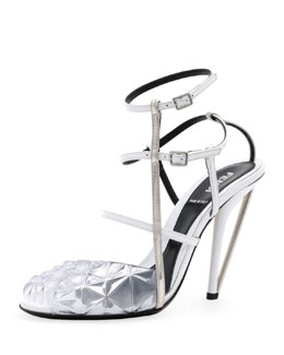 Fendi Molded PVC Leather Sandal, White