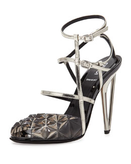 Fendi Metallic Molded Strappy Sandal