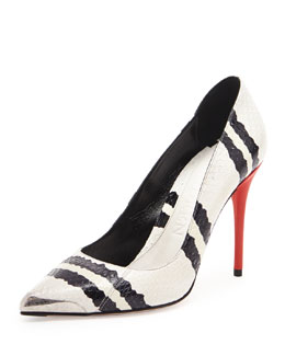 Alexander McQueen Snakeskin Point-Toe Pump, Black/White
